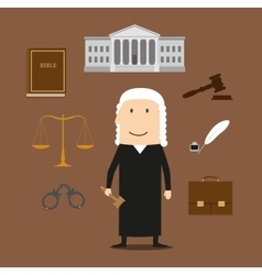 Judge with court and justice icons vector image
