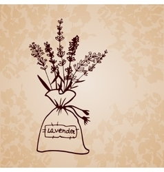 Lavender sachet sketch bouquet vector