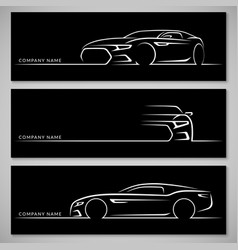 Modern sports car silhouettes background vector