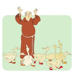 monk and geese vector image