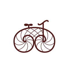 Old retro bicycle line art bike vector