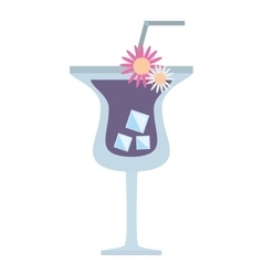 Purple cocktail flower tropical drink vector