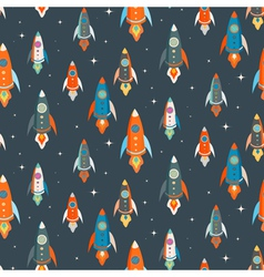 Seamless pattern of colorful spaceships vector image