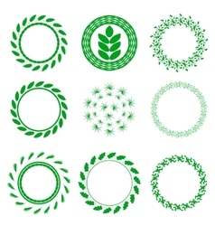 Set of green circle floral frames vector