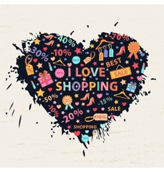 Shopping heart with colorful blots vector image