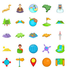 Sides of the world icons set cartoon style vector
