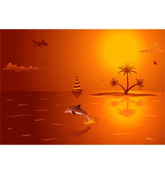 summer background with island palm tree dolphin an vector image vector image