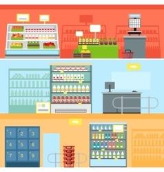 Supermarket interior design vector