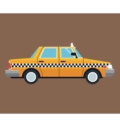 Taxi car side view brown background vector