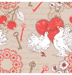 Valentine retro seamless pattern with hearts vector image