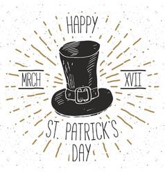 vintage label hand drawn leprechaun hat happy vector image vector image
