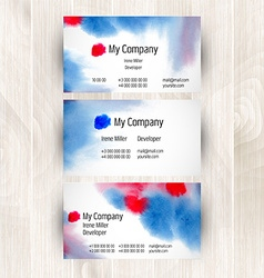 Watercolor business card template vector image