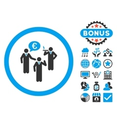 Euro discuss persons flat icon with bonus vector