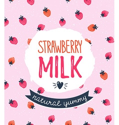 Strawberry milk graphic design with stylish label vector