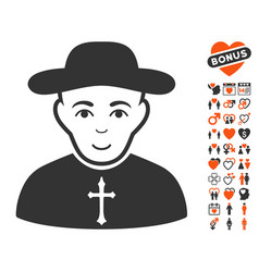 Christian priest icon with lovely bonus vector