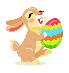 Easter cheerful bunny holding painted egg flat vector