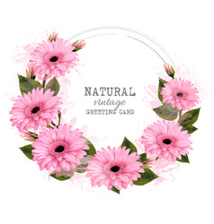 Vintage background with abstract pink of flowers vector