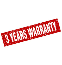 Square grunge red 3 years warranty stamp vector