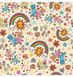Cute bunnies birds rainbows seamless pattern vector