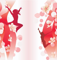 jumping women on red flowers backdrop vector