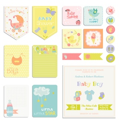Baby shower or arrival set - tags banners vector