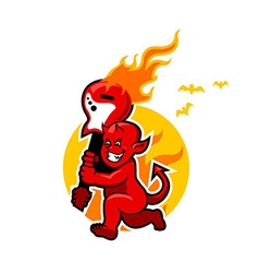 Red devil boy and flaming guitar vector