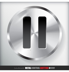 Circle metal pause button vector