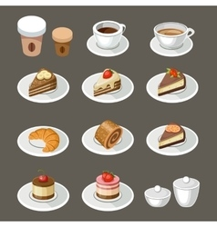 Set of sweets and coffee vector image