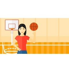 Basketball player spinning ball vector