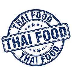 Thai food blue grunge round vintage rubber stamp vector