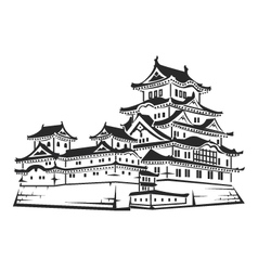 White egret castle vector