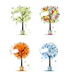 Four seasons - spring summer autumn winter trees vector