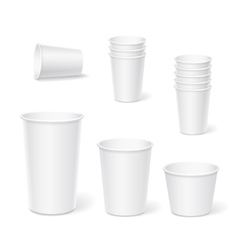 Paper coffee cups on a white background vector