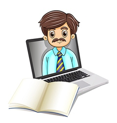A computer with a man and an empty notebook vector image vector image