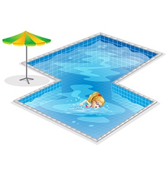 A girl swimming at the pool vector image vector image