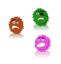 Bacteria and germs various types and forms vector