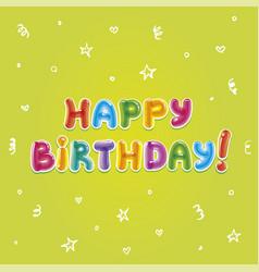 Baloon text birthday greeting card vector