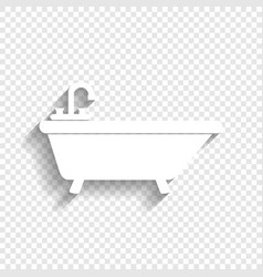 Bathtub sign white icon with vector
