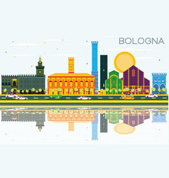 bologna skyline with color landmarks blue sky and vector image