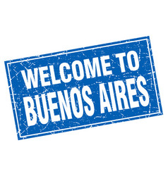 Buenos aires blue square grunge welcome to stamp vector