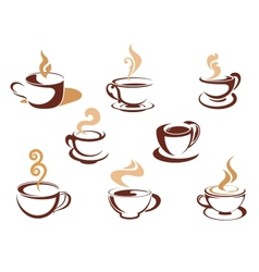 Cups with fragrant coffee vector image