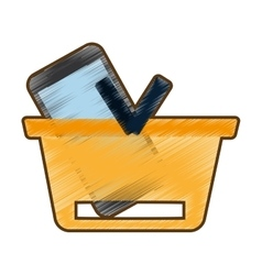 Drawing basket buying online smartphone commerce vector