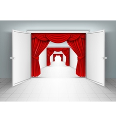 entrance doors with red curtains vector image