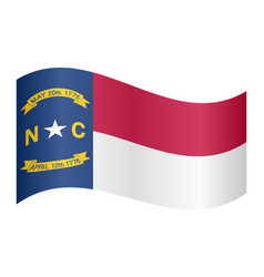 flag of north carolina waving on white background vector image vector image