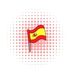 Flag of Spain icon comics style vector image vector image