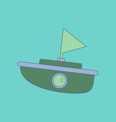 flat icon on background kids toy boat vector image
