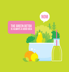 Fresh vegetables greens fruits bowl and bottle of vector