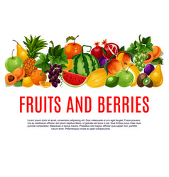 fruit and berry banner with border of farm product vector image vector image