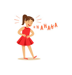 Girl in a red dress laughing out loud and holding vector