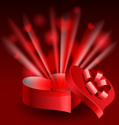 Glowing heart shaped box vector image vector image